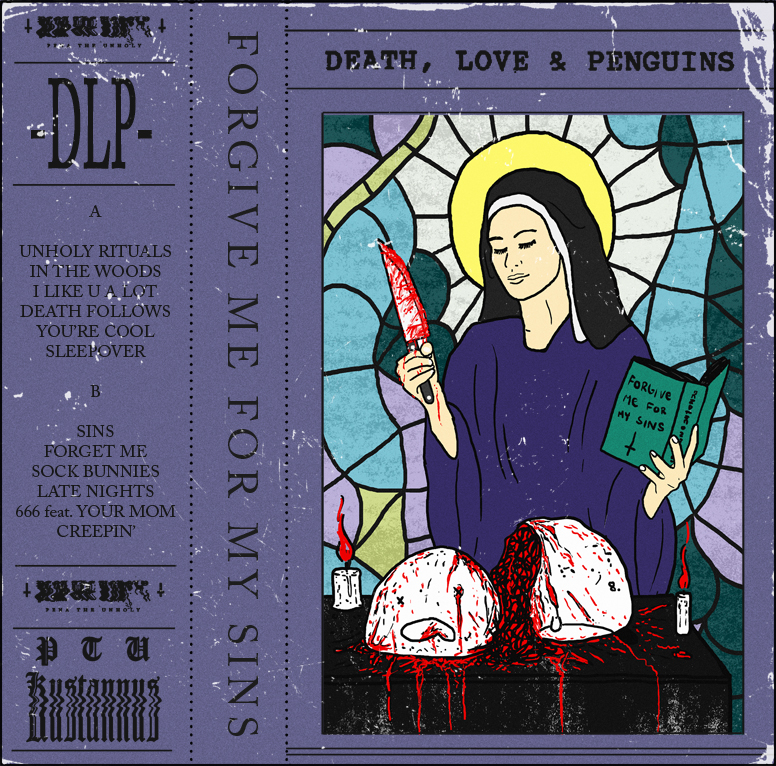 Deaht, Love & Penguins - Forgive Me For My Sins Cassette J-Card Design - Teemu Seuranen 2020